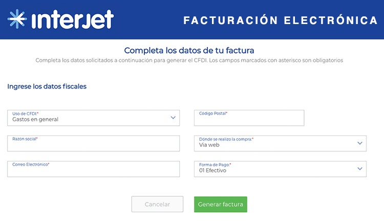 Facturación Interjet